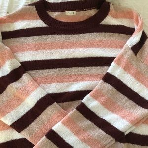 red, white, and pink striped sweater